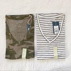 NWT Basic V Neck T Shirt Lot Striped and Camo